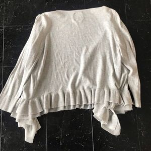 American Eagle Outfitters Sweaters - Grey AEO Frilly Cardigan Size M